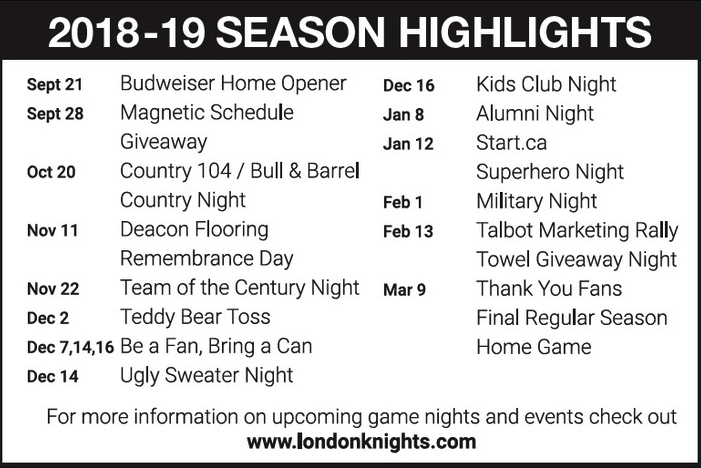 Knights Promotions Schedule